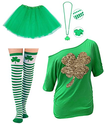 Goodstoworld Womens St Patrick's Day Shirt Green Four Leaf Clover Sequin Off Shoulder Short Sleeve St Pattys Day Festival Funny Accessories T-Shirt Irish Shamrocked Outfits Tee Set S