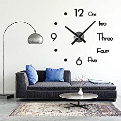 Gayrrnel Modern Mute DIY Frameless Large Wall Clock Large 3D Wall Clock Mirror Sticker Metal Big Watches - Home Office Decorations 2 Years Warranty