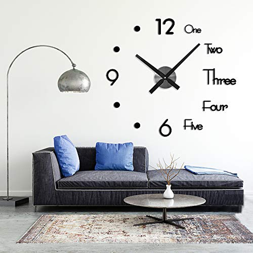 Afaneep Modern Mute DIY Frameless Large Wall Clock Large 3D Wall Clock Mirror Sticker Metal Big Watches - Home Office Decorations 2 Years Warranty (Black)