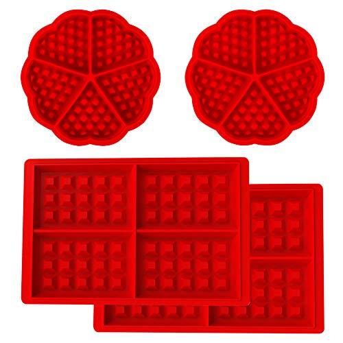 4 moldes para gofres, de silicona, molde para hornear, molde para tartas, cubito de hielo, molde para pan, moldes de horno. Ideal como moldes para preparar monodosis.