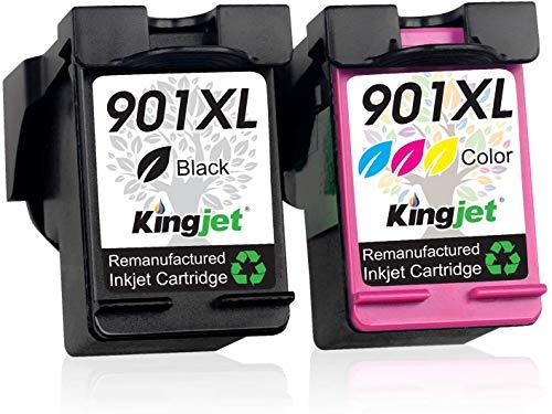 Kingjet - Cartucce rigenerate HP 901 901XL per HP OfficeJet 4500 HP Wireless J4500 J4524 J4624 J4580 J4535 J4540 J4545 J4550 J4600 J4585 J46660 J4 680 J; Stampante 4680C (1 nero + 1 tricolore).