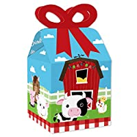 Big Dot of Happiness Farm Animals – 正方形記念品ギフトボックス – 納屋のベビーシャワーまたは誕生日パーティーリボンボックス – 12個セット