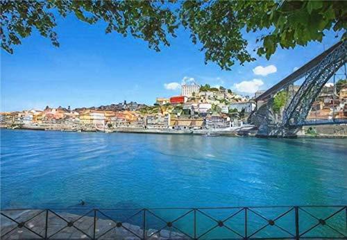 Rompecabezas Oporto o Porto City Skyline Douro River y Dom Luis o Luiz Iron para niños y adultos Juego educativo Puzzle Juguetes DIY, 500 piezas 52 * 38 cm