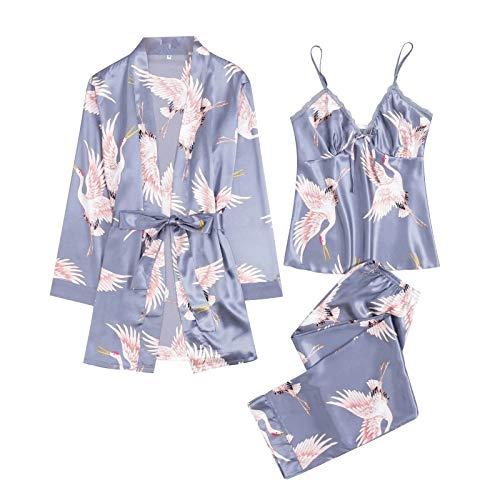 MAWOLY Pigiama Biancheria Donne Intima Pizzo di Seta Abito Robe Camicia da Notte Kimono Sexy Lingerie Pigiama—Set da 3 Pezzi