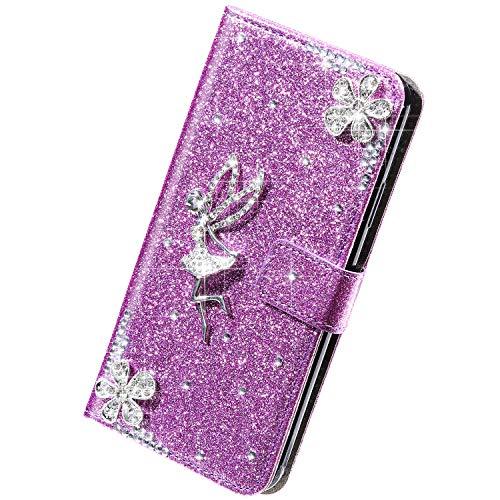 Herbests Kompatibel mit Samsung Galaxy S9 Hülle Bling Glitzer Strass Diamant Blumen Handyhülle Leder Hülle Wallet Klappbar Schutzhülle Flip Case Tasche mit Magnet Kartenfach,Lila