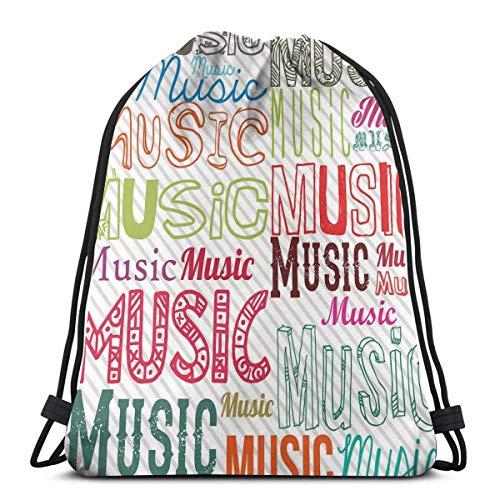 Hangdachang Musik-Typografie in verschiedenen Stilen, Rhythmus, akustische Harmonie, Melodie Funky Illustration, verstellbarer Kordelverschluss, bedruckter Kordelzug, Rucksäcke Taschen