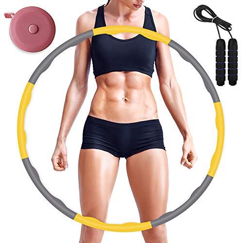 Fitness Hula Hoop zur Gewichtsreduktion, höchste Qualität Zusammenklappbare & Einstellbare Fitness Ubung Hula Hoop und Springseil zur Gewichtsreduktion Profis Anfanger und für Kinder gelb (Farbe)