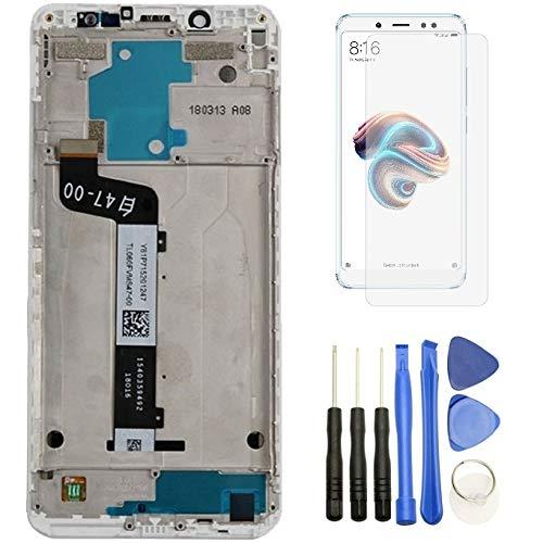 Hypak Pantalla IPS LCD para Xiaomi Redmi Note 5 (Completa con Marco de Color Blanco) Incluye Protector de Pantalla y Herramientas VB