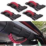 BASIKER Black&Red 4 x Roll Bar Grab Handles Grip Handle Interior Accessories Triple Strap ...