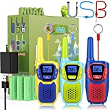 Walkie Talkies for Kids Adults Long Range Rechargeable 3 Pack, Drop Proof Walkie Talkies Toys Gifts for Girls Boys Age 3 5 6 8 9 12, USB Walkie Talkies for Outdoor Indoor Play Camping Birthday Party