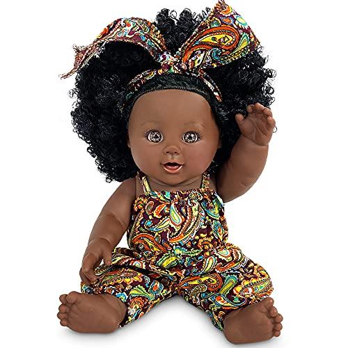 Schwarze Puppe 12 Zoll Babypuppe Afrikanische Puppe für Kinder Mode Spielpuppe Kinder Mädchen