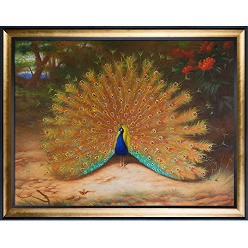 overstockArt La Pastiche Hand Painted Oil Reproduction, Peacock Butterfly, 1917 by Thorburn with Gold Luminoso Black Combo Frames