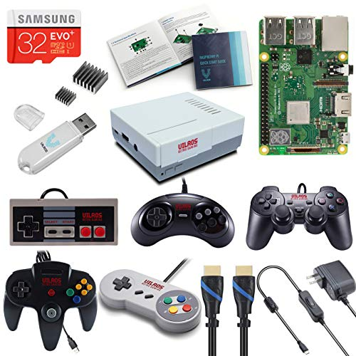 V-Kits Raspberry Pi 3 Model B+ (B Plus) Retro Arcade Gaming Kit with Multi Retro Gaming Controller Set-Includes: NES, SNES, N64, PS2 & Genesis Controllers