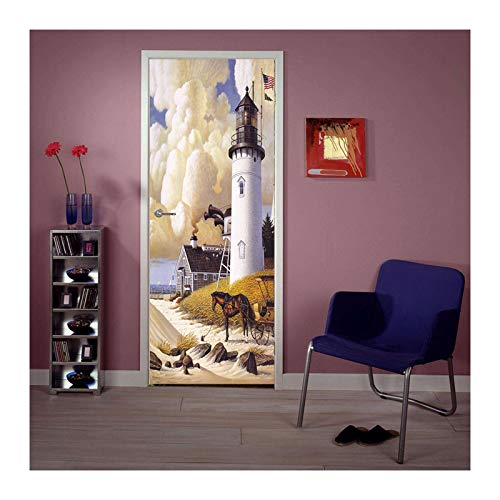 Siunwdiy Pantalón de Pantalla de la Puerta Póster de la Puerta autoadhesiva - Faro 3D - Fotomural Puerta Puerta Poster Papel Pintado - Papel de Puerta Autoadhesivo,77x200cm(30'x79')