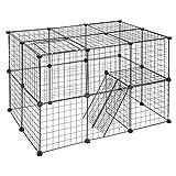 EUGAD Recinto per Conigli da Interno Recinzione per Piccoli Animali Personalizzabile Organizer per Gabbie di Stoccaggio in Filo Metallico 2 Piani 0010WL