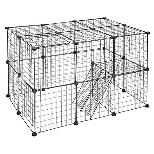 EUGAD 0010WL Freigehege DIY Laufstall Laufgitter Welpenauslauf Katzenkäfig Kleintiere wie Hase Kaninchen Meerschweinchen 105x70x70cm