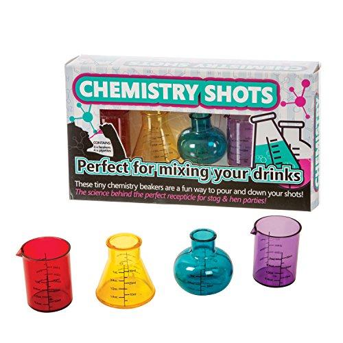 Funtime Vasos de chupito de plástico química, Multicolor, 6.2 x 25 x 14 cm, 4 Set