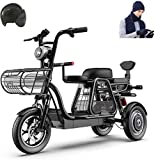 Electric Bike Electric Mountain Bike, 500W 3 Wheel Electric Bike for Adult 48V 8AH Mountain Electric Scooter 12 In Electric Bicycle Multiple Shock Absorption with Storage Basket and Kid Seat for Famil