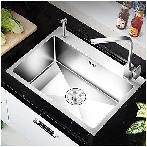 Kitchen Sink dispersore dell\'Acciaio Inossidabile di Alta capacità in Acciaio Inox lavello Singolo Bowl for Tritatutto Drenaggio Colino (Dimensioni: 60cm * 45cm) Formato: 68cm * 45cm LITING