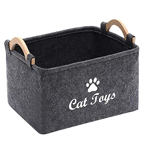 Geyecete CAT Toys Storage Bins - with Wooden Handle, Pet Supplies Storage Basket/Bin Kids Toy Chest Storage Trunk C705-CAT (Grey)