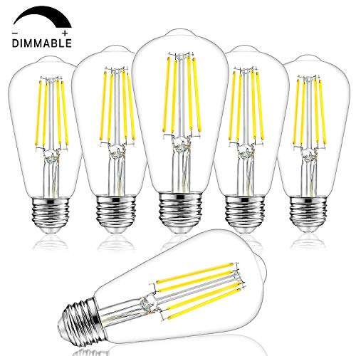 Dimmable Vintage LED Edison Bulbs, 100W Equivalent, 8W, 1200Lumens, High Brightness Daylight White 4000K, ST64 Antique LED Filament Light Bulbs, E26 Medium Base, Clear Glass, for Home Kitchen, 6 Packs