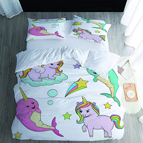MQBHJI Duvet Covers King Size Beds - 3 Pcs Ultra Soft Hypoallergenic Microfiber King Size Bedding Sets With Zipper Closure With 2 Pillowcases, 230X220cm, 3D Printed Cartoon Whale Horse