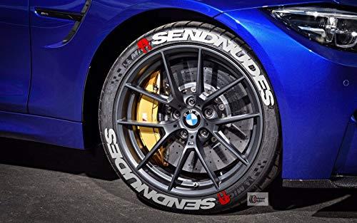 PS Send Nudes Reifenbeschriftung Reifen Aufkleber 4er Set Gummi Tire Tyre Sticker Set passend auf 14