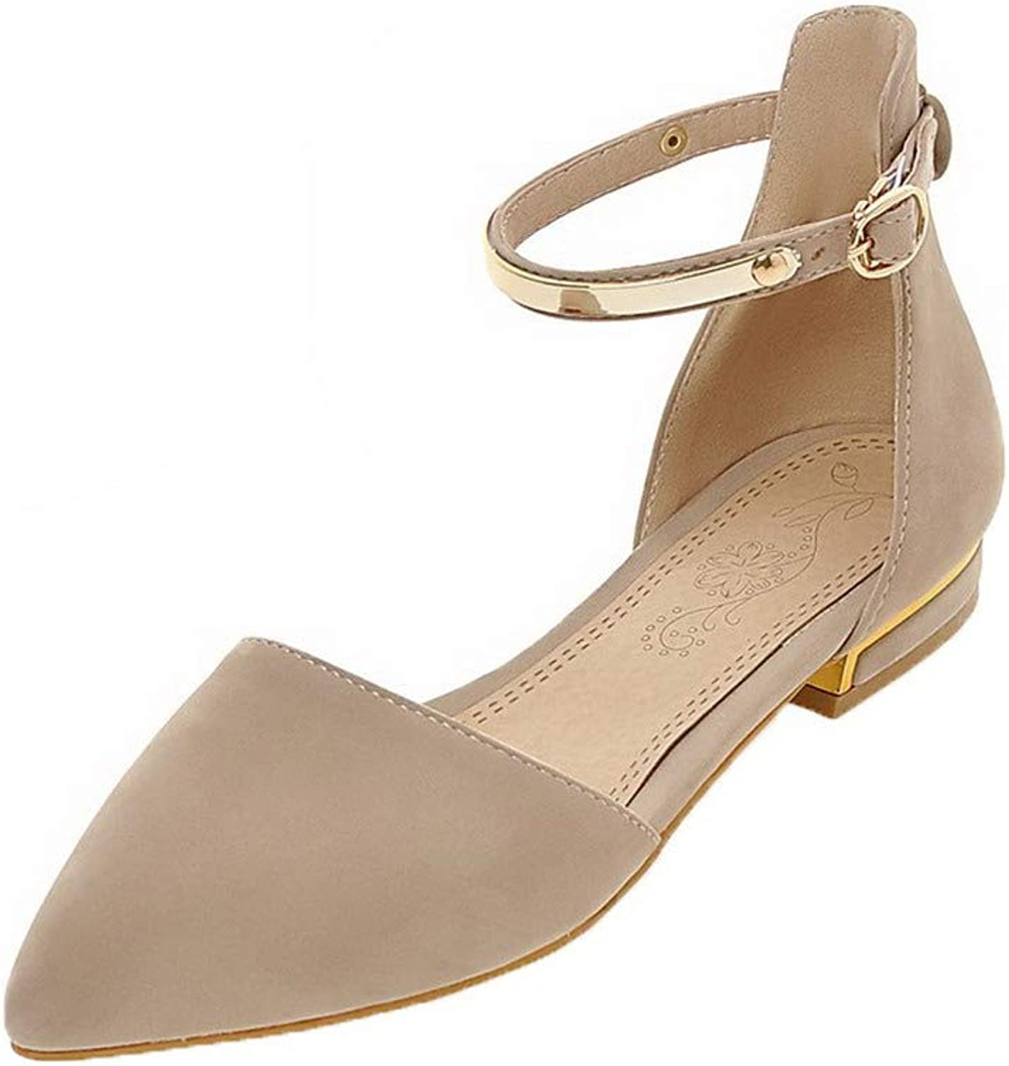 WeenFashion Women's Frosted Closed-Toe Low-Heels Buckle Solid Sandals, AMGLX010170