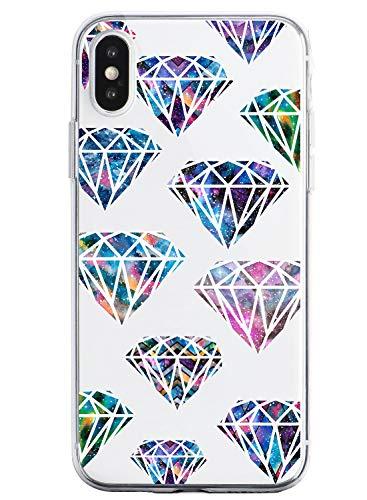 Oihxse Funda Dibujos Diamantes Brillantes Compatible iPhone 6/iPhone 6S 4.7'' Transparente Silicona TPU Bumper Case Ultra Delgado Crystal Clear Anti-Choques Carcasa Protectora Cover(A6)