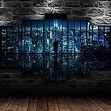 Caballero mirando arte urbano de la pared de la lona 5 impresiones de la lona cuadros modulares modernos de alta definición del cartel impresiones de la pintura pinturas de la decoración de la sala