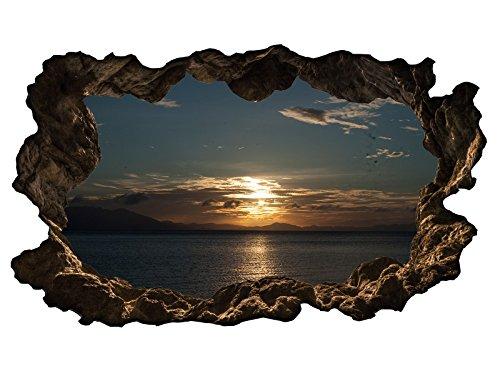 3D Wandtattoo Meer Ozean Sonnenuntergang Wasser Wandbild Wandsticker selbstklebend Wohnzimmer Wand Aufkleber 11E527, Wandbild Größe E:ca. 168cmx98cm