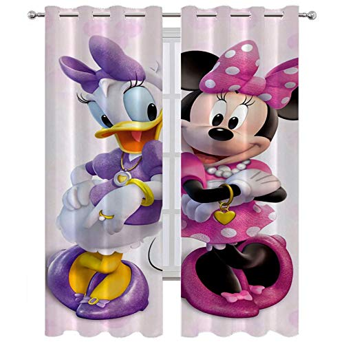 SSKJTC Thermal Insulated Curtains Minnie Mouse and Daffy Duck Curtains for Kitchen Windows W63 x L45