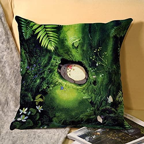 Best-design My Neighbor Totoro Signature Poster Funda de almohada de microfibra, fundas de cojín para sofá, exteriores, jardín, cama, cojines de 45 x 45 cm