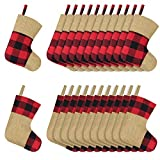 Ivenf Christmas Mini Stockings, 24 Pcs 7 inches Red and Black Buffalo Check Plaid with Burlap Stockings, Gift Card Bags Holders, Bulk Treats for Kids, Small Xmas Tree Decorations Set
