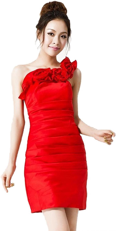 Dearta Women's Sheath Column Mini Satin Dress