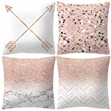 Jshuang Pack of 4 Throw Pillow Covers Cases - Rose Gold Pink Pillowcase Square Decorative Cushion Covers for Sofa Couch Bed Home Decoration, 18 x 18 inches 45 x 45 cm