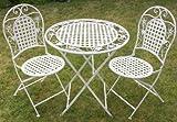 Maribelle White Round Metal Floral Designed Folding Outdoor <span class='highlight'>Garden</span> Patio Dining <span class='highlight'>Table</span> <span class='highlight'>And</span> <span class='highlight'>Two</span> <span class='highlight'>Chairs</span>