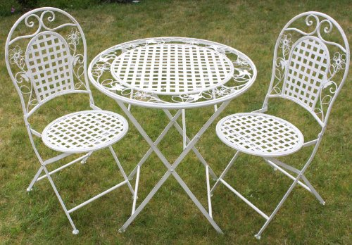 Maribelle White Round Metal Floral Designed Folding Outdoor Garden Patio Dining Table And Two Chairs