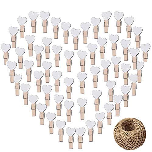 CozofLuv 100 STK Mini Holzklammern Herz Klammern Holz Deko Klein Wäscheklammern Dekoklammern Plus 50 Meter Jute Bindfaden (Weiß)