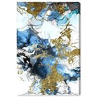 The Oliver Gal Artist Co. 抽象ウォールアート キャンバスプリント 'Angel Visit' 水彩ホーム装飾 40インチ x 60インチ ブルー ゴールド