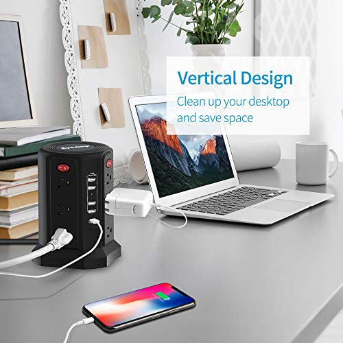 USB C Power Strip Surge Protector Tower, SUPERDANNY Vertical Desktop Charging Station with 18W PD Port & 4 USB-A Slots and 12 AC Outlets, 6ft Heavy Duty Extension Cord for Home, Office, Garage, Black