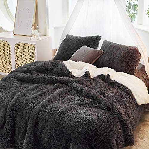 FlySheep Luxury Faux Fur Long Hair Gray (Like Black) Shaggy Velvet Comforter Plush Sherpa Backing Bedding Set Warm for Winter - Soft Microfiber (Dark-Gray, King)