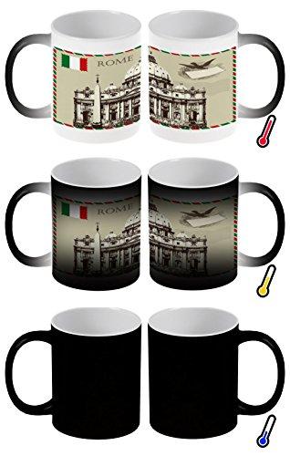 Zaubertasse Farbwechseltasse Kaffeebecher Tasse Becher Latte Cappuccino Espresso Stadt Rom Italien