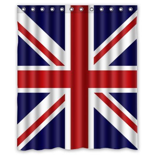 Union Jack/UK Flag Backgro& Waterproof Shower Curtain/Bath Curtain--Size: 60