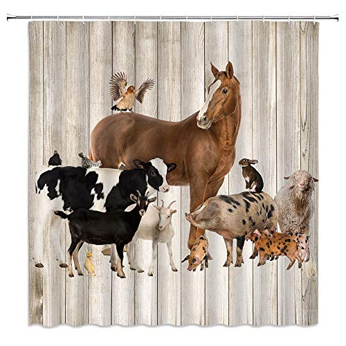 Xnichohe Farm Animals Shower Curtain Horse Cow Pig Rabbit Chickens Duck Sheep Country Farmhouse Wood Plank Background Polyester Cloth Fabric Bathroom Curtains Decor Set with 12 pcs Hooks 70 x70 Inches