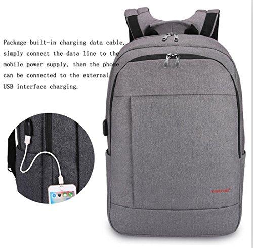 Yk légère en nylon Sac à bandoulière ordinateur Business Casual Sac à dos Sac d'ordinateur USB Jack–Convient pour ordinateur portable de 43,2cm gris