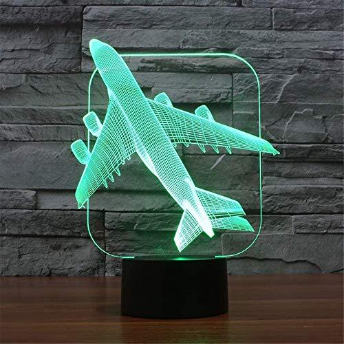 Luz nocturna LED 3D con ilusión óptica 3D, avión, 16 colores cambiantes, interruptor táctil para dormitorio, decoración para niños, niñas y niños (con control remoto)