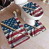 Beck Roy Alfombras de baño Conjuntos de 3 Piezas Bate de béisbol en la Bandera Nacional Estadounidense Alfombras de baño de Espuma de Memoria Set Alfombra de baño Tapa de tapete de Contorno