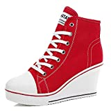 Padcod High Heel Sneaker, Canvas Lace Up Fashion Shoes High Top Wedges Casual Sneaker (9 B(M) US/41EU, Red)