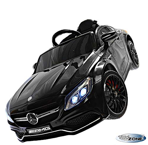 Toy Zone Kinderfahrzeug C 63 AMG Mercedes 12V Kinder Elektro Kinderauto MP3 USB Ledersitz Eva Gummiräder 2,4 GHZ schwarz